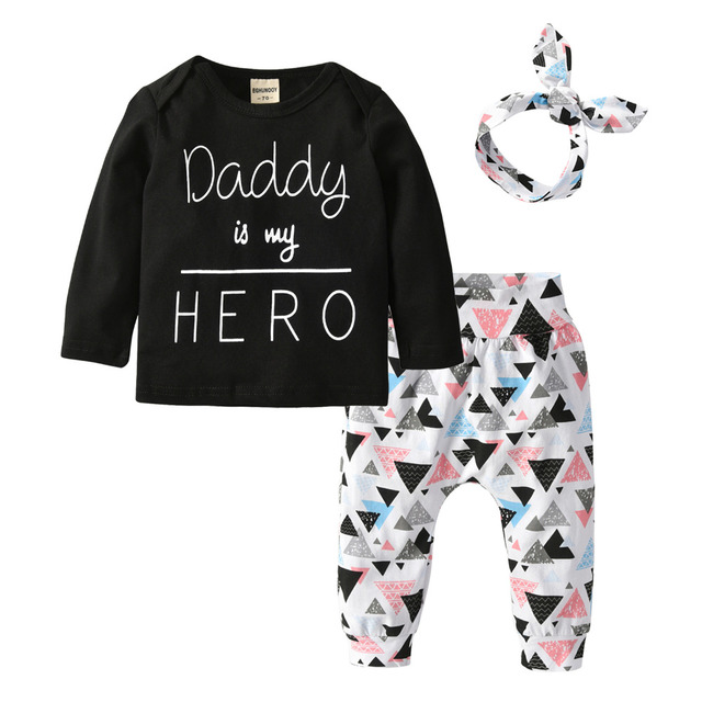 6e9f7d82a5e Newborn Baby Girl Clothes Daddy is my Hero 3Pcs Outfits Set Long Sleeve T- shirt