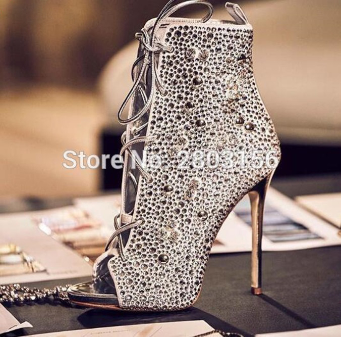 Hot Selling Crystal Cut Outs Party Shoes Woman Peep Toe Booties Lace Up  Stiletto High Heels Rhinestone Ankle Boots-in Ankle Boots from Shoes on ... b22e002035dc