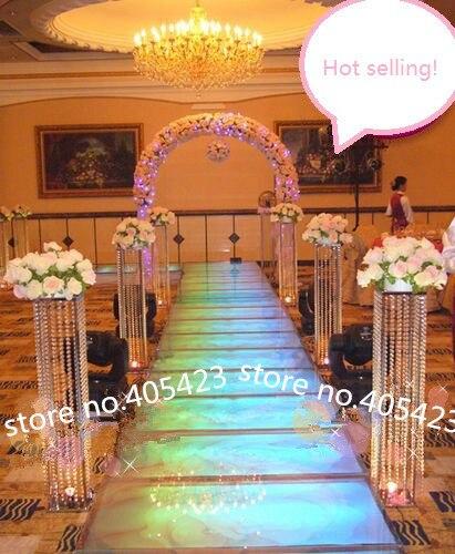 Acrylique cristal mariage décoration métal stand pièce maîtresse fleur étagère route plomb cadre H120cm (pas inclure fleur)
