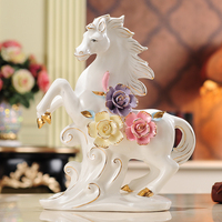 ceramic horse crafts Feng Shui ormaments living room home decorations animal porcelain figurines opening new homes birthday gift
