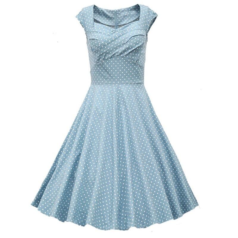 Buy Cheap 2017 Fashion Retro Dress Polka Dot Rockabilly Dress Summer Style Women Robe Vintage Short Sleeve Audrey Hepburn Dress 7 Colos