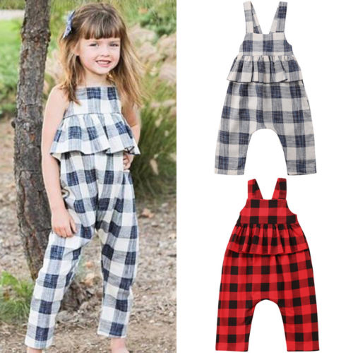 Infant Baby Girls Sleeveless Ruffles Plaid Print Romper Sleevess Jumpsuit Clothes