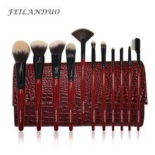 FEILANDUO 11 stks Professionele Make Borstel Set Hoge Kwaliteit PBT Makeup Tools T004 Make Up Borstels Cosmetica Tool