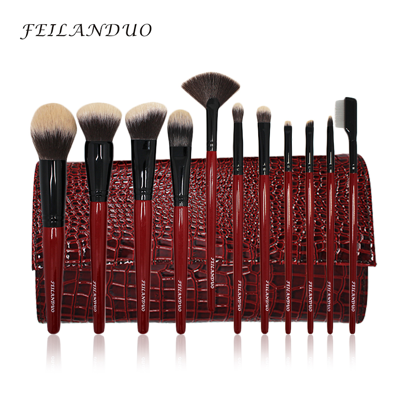 FEILANDUO 11-delige professionele make-up kwast set van hoge kwaliteit PBT make-up tools T004 make-up kwasten cosmetica Tool
