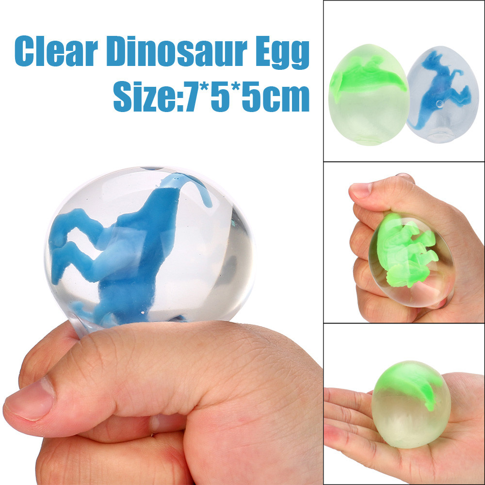 2018 Clear Dinosaur Egg Toy Squeezable Stress Squishy Toy Stress Relief Ball For Fun Dropshipping Wholesaling retailing P3