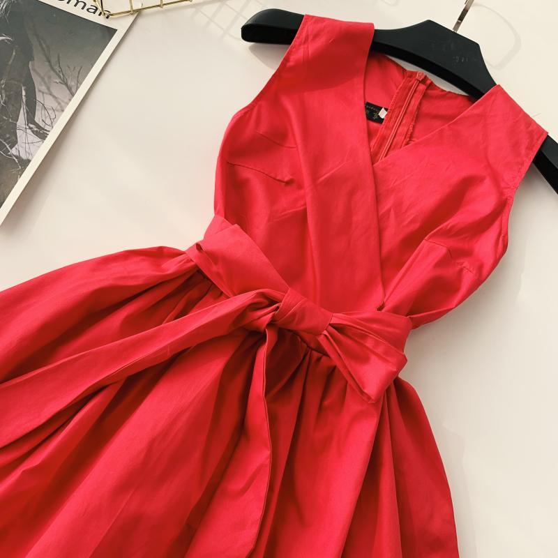 Korean Vintage Pure V Collar Sleeveless High Waist Bow Tie Double Ruffle Holiday Dress Women Vestidos E348 65