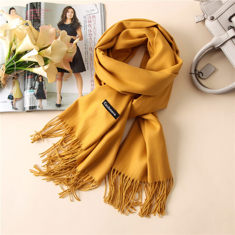 2019 New Fashion Winter Warm Solid Scarf For Women/Lady Thicken Wool Pashmina Shawls Long Cashmere Female Foulard Wraps Tassel