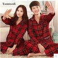 Pijamas Primavera Y Otoño Pijamas de Las Señoras de las mujeres Aman a Los Hombres ropa de Dormir de Algodón A Cuadros Pijamas Mujeres Parejas de La Boda Conjuntos de Pijamas 3XL