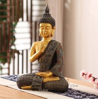 38 cm grote-Groothandel Boeddhistische levert # thuis familie Zegenen Veilig geluk Buddha-Zuidoost-azi Ë Zitten Boeddha art standbeeld