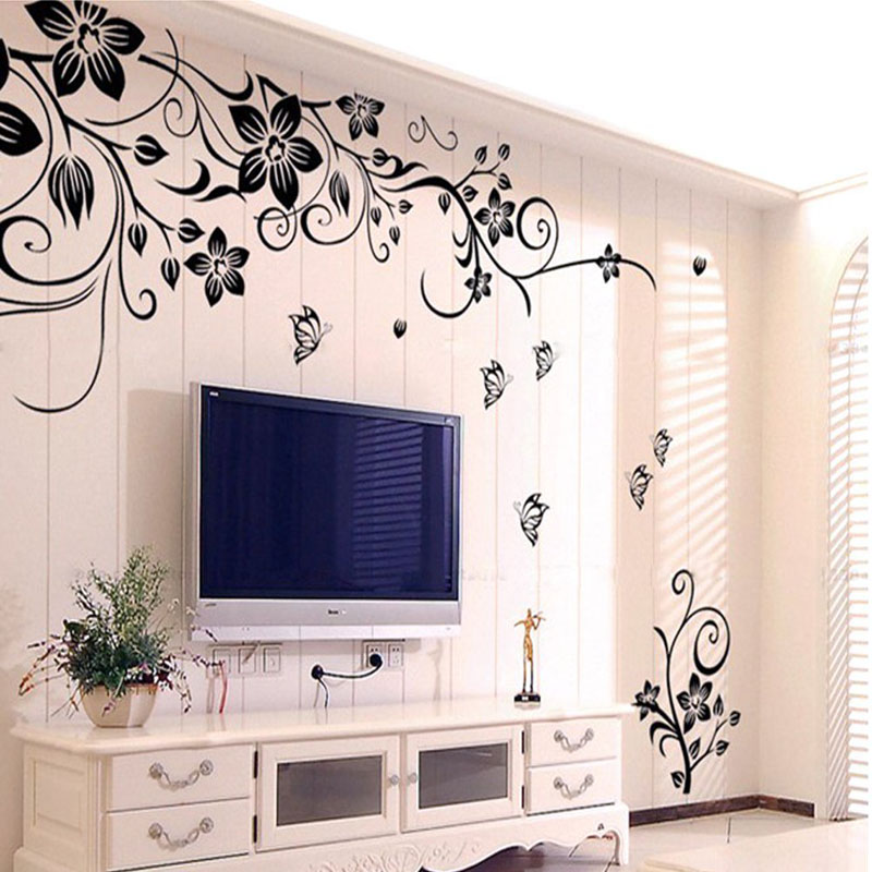 Hot diy wall art decal decoration fashion romantic flower for Home decor 3d stickers