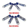 4 unids 1.2 v aa batería recargable + 4 unids 1.2 v aaa nimh batería recargable de baterías para cámara de juguete mp3 luz led libre gratis