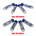 4pcs 1.2V AA rechargeable battery + 4pcs 1.2V AAA NIMH rechargeable batteries for camera toy mp3 led light battery free shipping