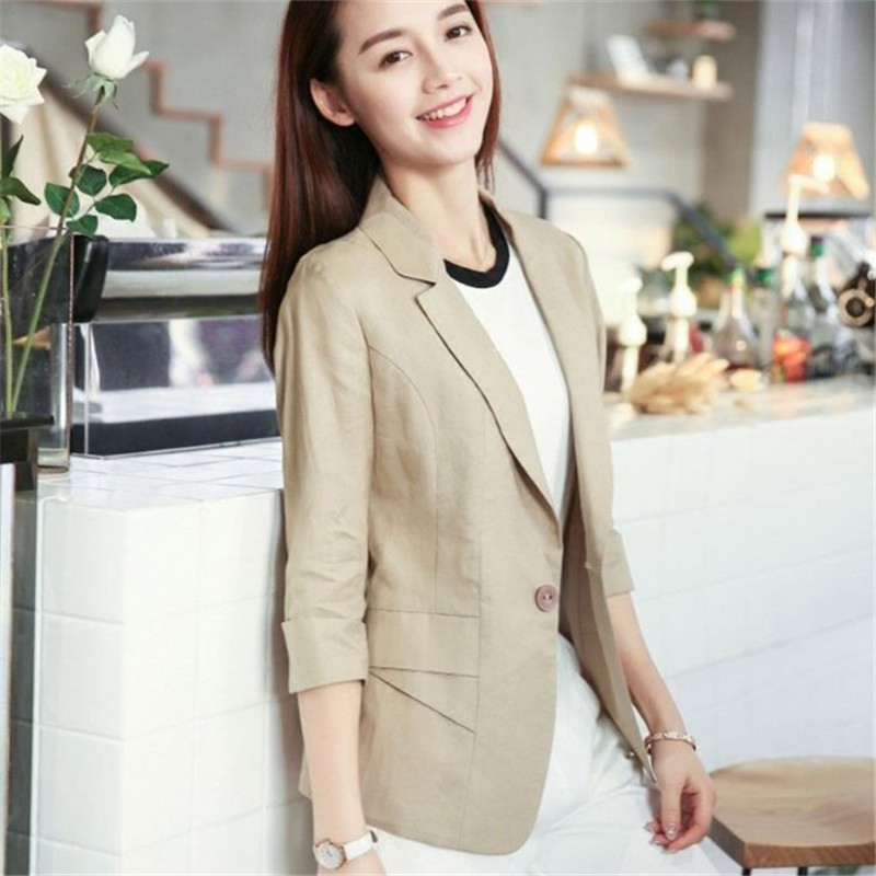 Slim Linen Blazer Women Casual Formal Jacket Summer Three Quarter Sleeve Blazer Jackets And Blazers Blazer Jaune Ds50706