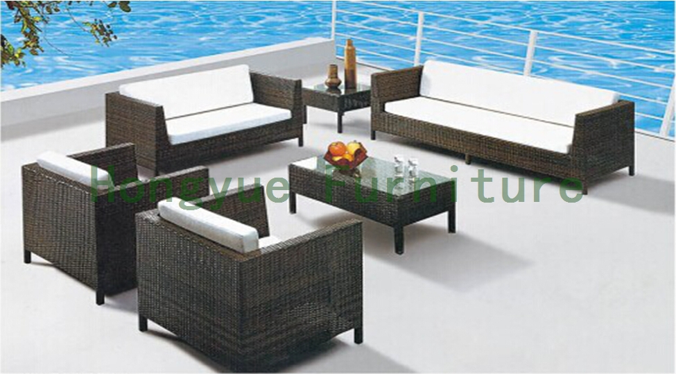 Brown new pe rattan sofa supplier,home furniture