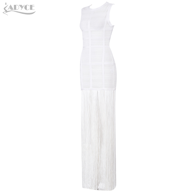 Adyce 2019 New Summer Women Bandage Dress Vestidos Sexy Maxi Celebrity Evening Party Dress White Tank Tassels Fringe Club Dress 2