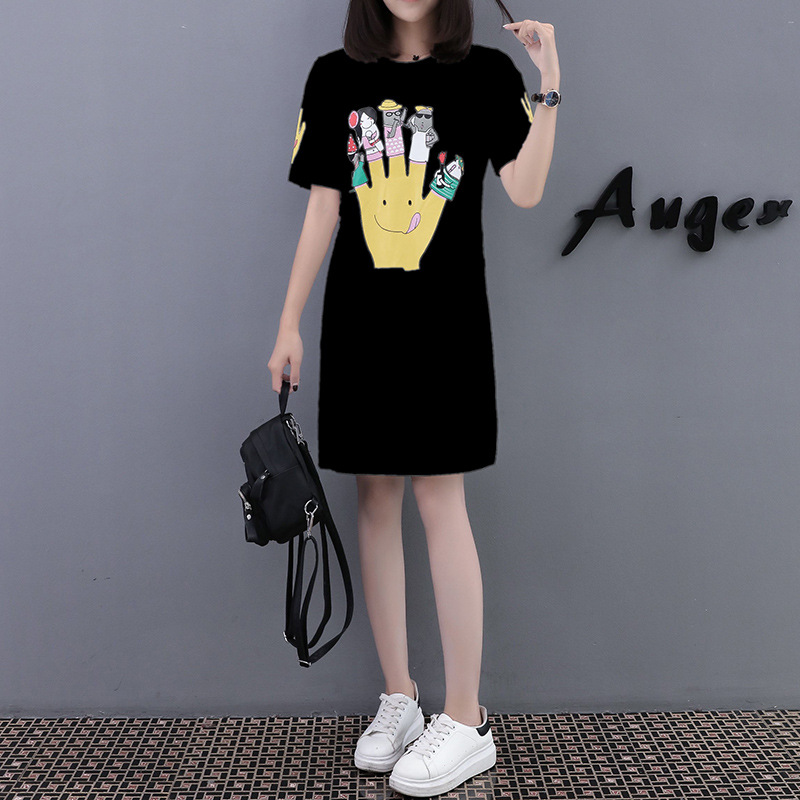 Maternity dress summer short-sleeved finger print cotton T-shirt long out of lactation pregnant women dresses pregnancy clothes