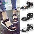 De alta qualidade Da Moda Sandálias Mulheres Sandálias Planas Senhoras Sapatos De Couro Envelhecido 170227