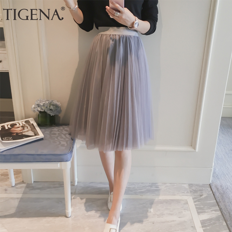 TIGENA Tulle Skirt Pleated Midi Spodnica Knee-Length School High-Waist Women Summer A-Line