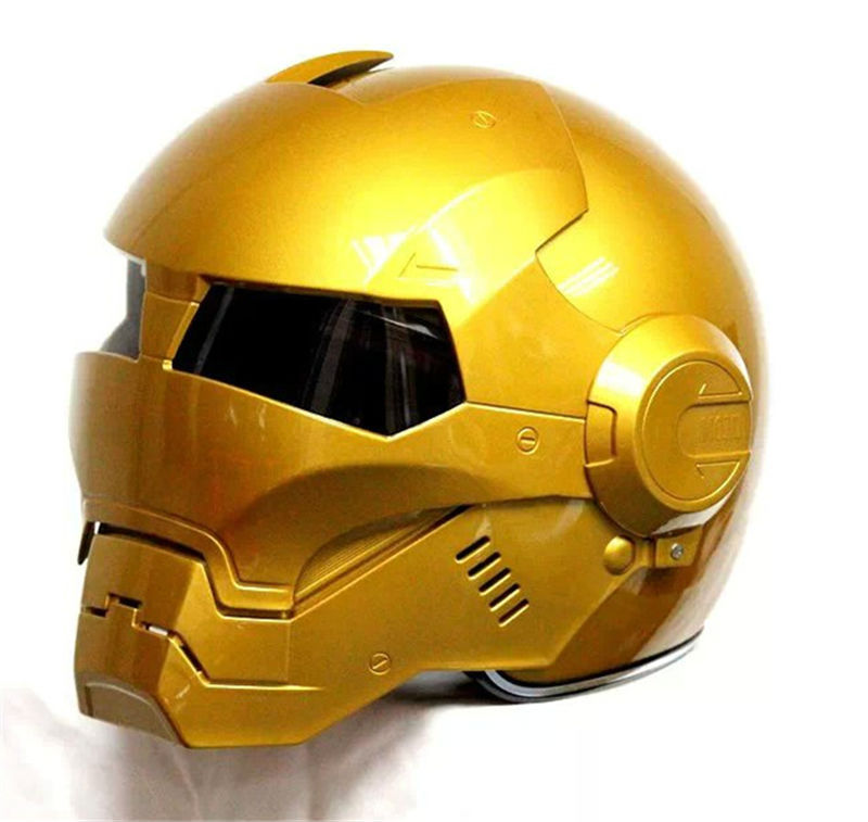 793f02af Hot 2015 Gold MASEI IRONMAN Iron Man helmet motorcycle half open face ABS  casque motocross 610