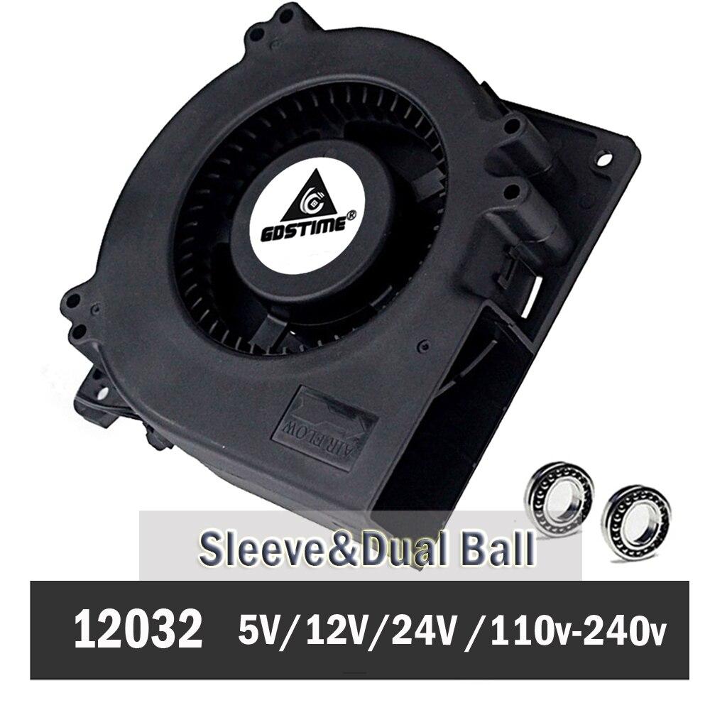 1 stücke Gdstime 120mm 12 cm Gebläse Fan 5 V 12 V 24 V 48 V 110 V 115 V 220 V 240 V 120X120X32mm Ball Computer Radial Turbo Fan Lüfter