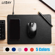 Multifuction Qi Wireless Charger Phone Fast Charging Leather Computer Mouse Pad Mat For iPhone X 8 Plus For Samsung For Galaxy