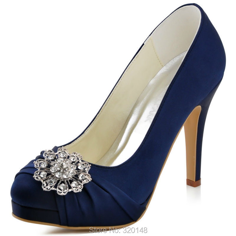 c4426a53004 Woman Navy Blue Red High Heel Platform Wedding Shoes Rhinestone Satin Bride  Lady Prom Party Bridal Pumps Pink Silver EP2015 -in Women s Pumps from Shoes  on ...
