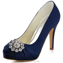 Women Shoes Navy Blue High Heel Platform Rhinestone Closed Toe Satin Bride Prom Party Bridal Wedding Pumps EP2015 White Silver