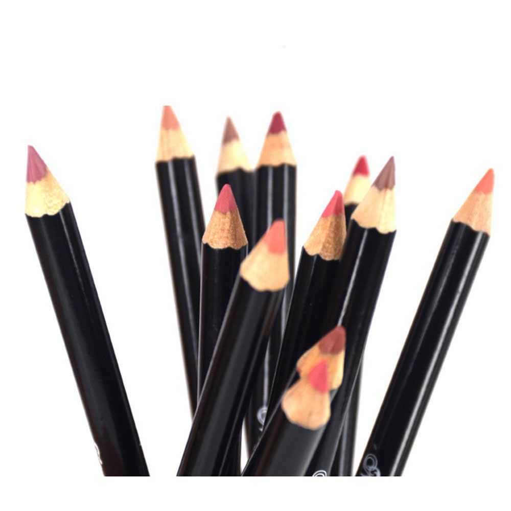 12 ألوان/مجموعة مثير ماتي الشفاه عصا أحمر الشفاه قلم تحديد الشفاه ماتي عارية Lipsliner مجموعة أقلام ماكياج الجمال الشفاه العين الحاجب التجميل