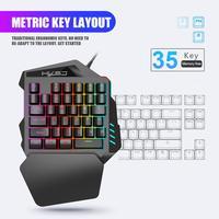 Teclado de jogo mecânico de uma mão teclado de jogo de 35 teclas destacável resposta rápida pequeno mini portátil teclado de jogo profissional