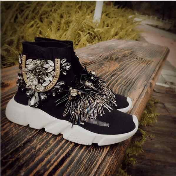 New Korean version of the sleeve beaded rhinestones tassel knit socks shoes  flat casual elastic women s 225f65f8d4bb
