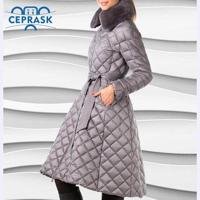 Ceprask 2016 abrigos de invierno de Alta Calidad de las mujeres Más Tamaño chaqueta Larga femenina Cinturón Fino de moda Caliente Parka casaco camperas