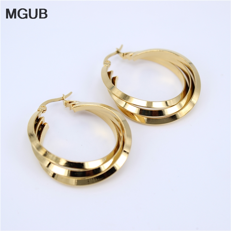 MGUB Hot <font><b>3</b></font> colors a set of <font><b>earrings</b></font> 316L stainless steel smooth twisted comfortable wild female jewelry birthday present LH342 image
