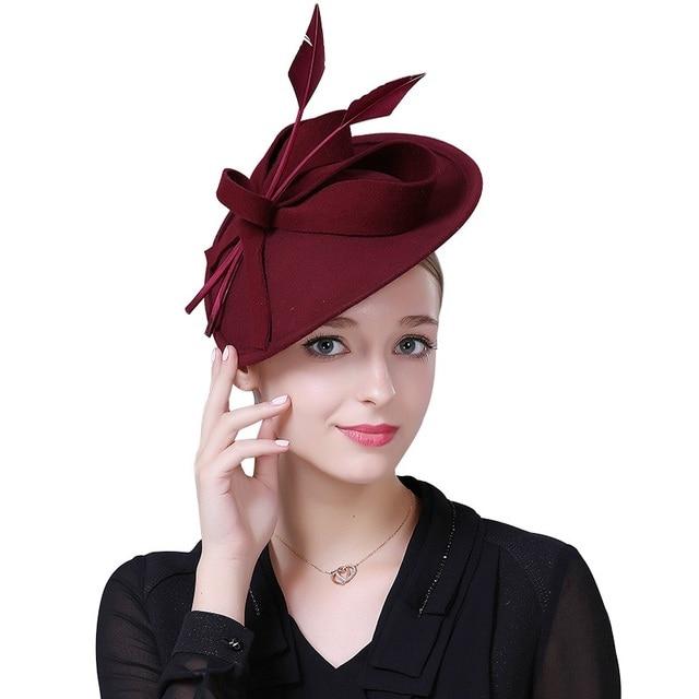 Sedancasesa Female Fascinator Australia Wool felt Church Hats for women  British Party Banquet Pillbox hat Fascinator Elegant 6859b4c1fbc