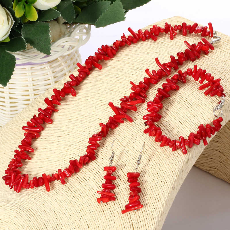 ZOSHI Vintage Irregular Coral Jewelry Sets Silver Plated Chocker Necklace Drop Earrings String Bracelet Wedding Bridal Set