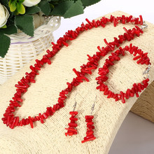 ZOSHI Vintage Irregular Coral Jewelry Sets Silver Plated Chocker Necklace Drop Earrings String Bracelet Wedding Bridal Set(China)
