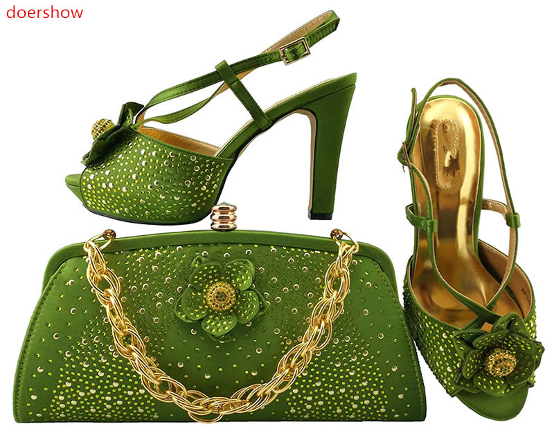 doershow Ladies Shoes and Bag Set African Sets Italian Shoes with Matching Bags green Women Shoes and Bag for party LULU1-20 doershow fast shipping fashion african wedding shoes with matching bags african women shoes and bags set free shipping hzl1 29