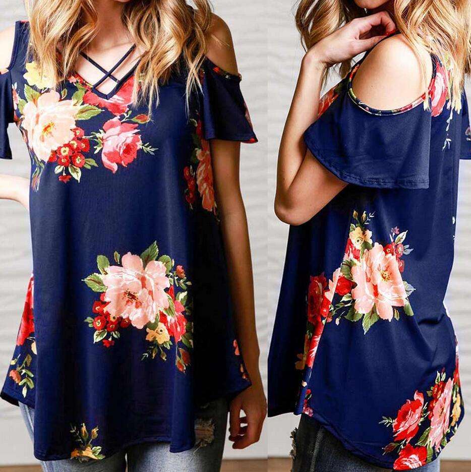2019 New Summer blusa feminina Women shirt loose Cold Shoulder Floral Print plus size Blouse Crop Tops blusas mujer de moda