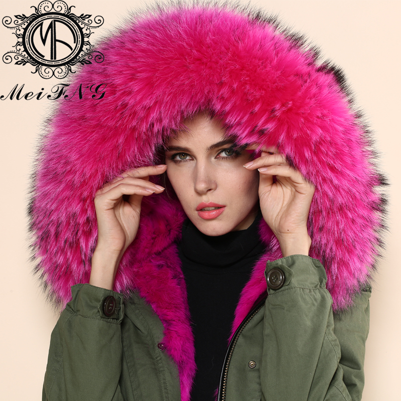 NEW Arrive raccoon Fur Collar Design Rose Red Winter Elegant Hooded Coat Women Faux Fur Jacket
