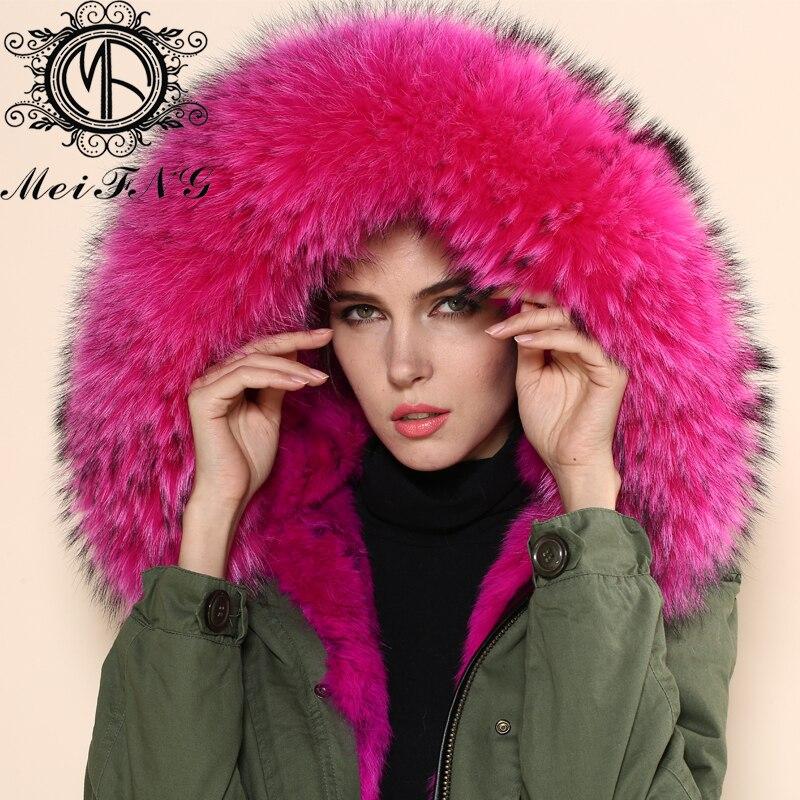 acheter nouveau arrivent raccoon col de fourrure conception rose rouge d 39 hiver. Black Bedroom Furniture Sets. Home Design Ideas