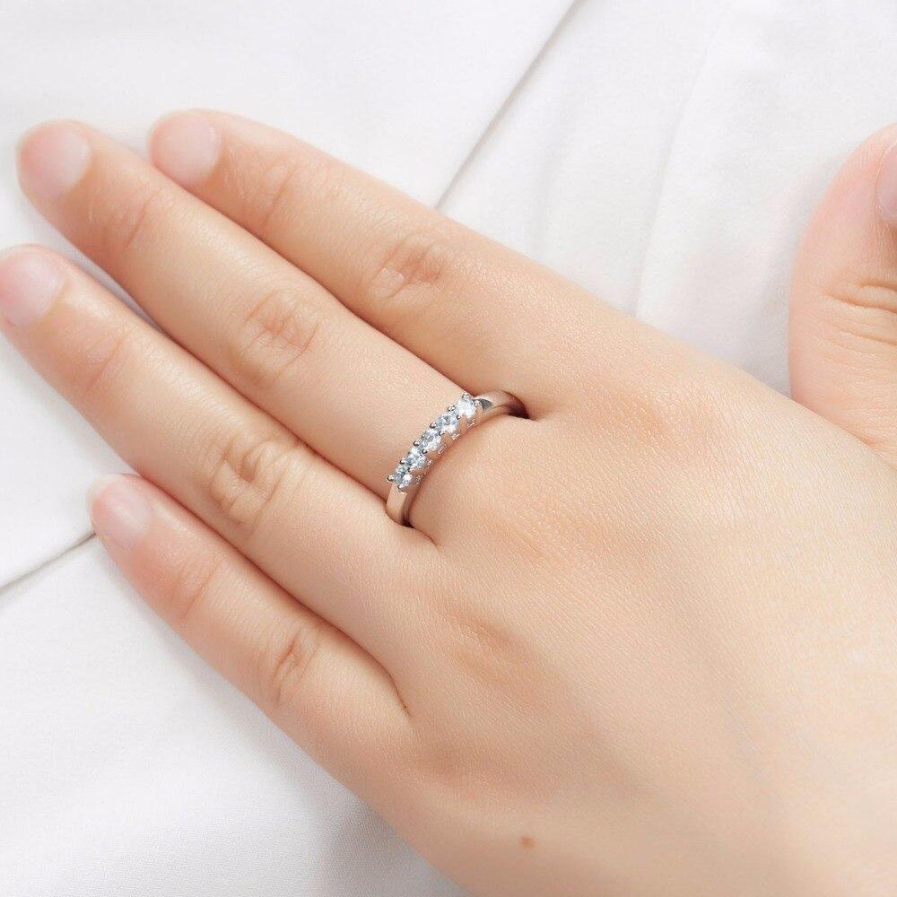 Hutang Bryllup Ringe Fem Sten Naturlig Aquamarine Solid 925 Sterling - Smykker - Foto 6
