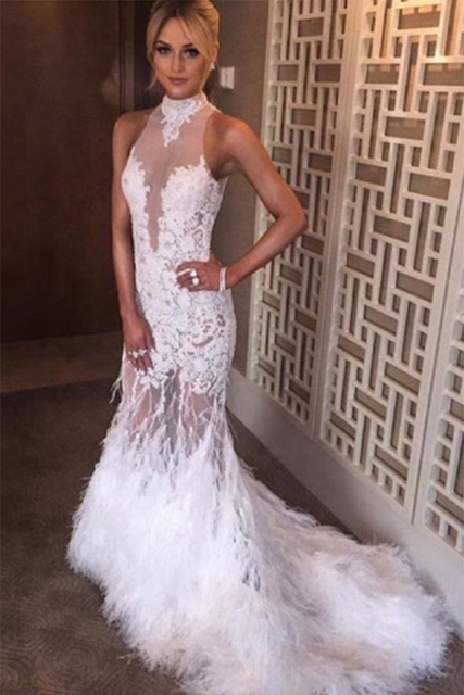 35786bed155 White Tulle Lace High Neck Backless Feathers Sexy Mermaid Long Prom Dresses  2016 Party Dresses PD143