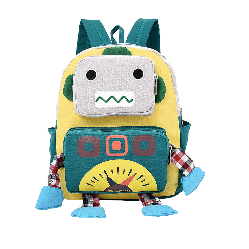 Canvas Cartoon Robot Shape Kid Backpack Baby Child Toddler School Travel Bag Kindergarten cartoon kid supercharged
