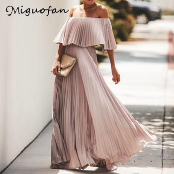 Miguofan Off Shoulder Chiffon Summer Dresses Women Ruffle Pleated Long Dress Pink Elegant Loose Holiday Beach Dress Female 2019 burgundy ruffle design off shoulder mini dress