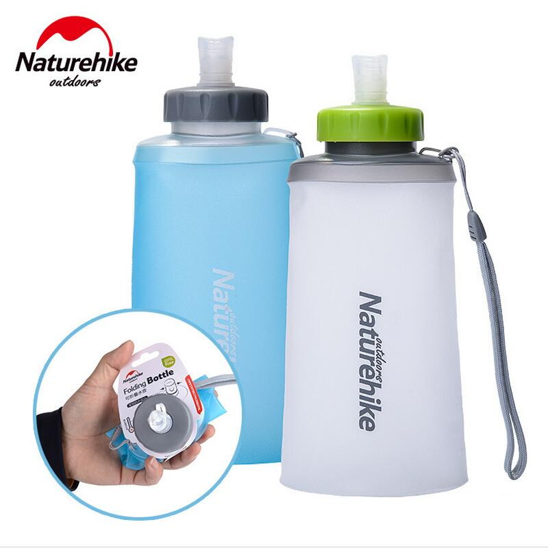 Naturehike 0.5L 0.75L Water Bottles Ultralight Foldable Silicone Cup Outdoor Camping Hiking Sports Soft Flask Water Bag
