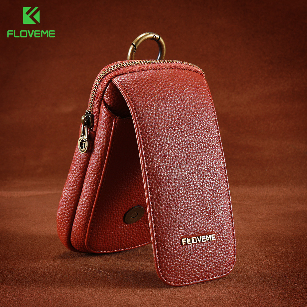 FLOVEME Wallet Case For iPhone 6 6S 7 6 Plus 6S Plus 7 Plus 5.5 Inch Universal PU Leather Waist Clip Pocket Case For iPhone 6 7