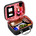 PU Leather Makeup Bag Travel Organizer Cosmetic Bag for Women Large Necessaries Make Up Case Black