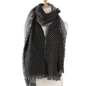 Image 5 - Winter Scarves Women Fashion Black White Polka Dot Pashmina Fringed Brim Shawl Oversized Tippet Ladys Fluffy Cashmere Bufandas