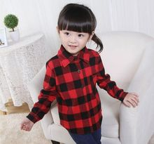 2016 Spring Autumn Casual Children Long Sleeved Shirts Boys Shirts Classic Red Plaid Blouses for Girls Cotton Kids Clothes