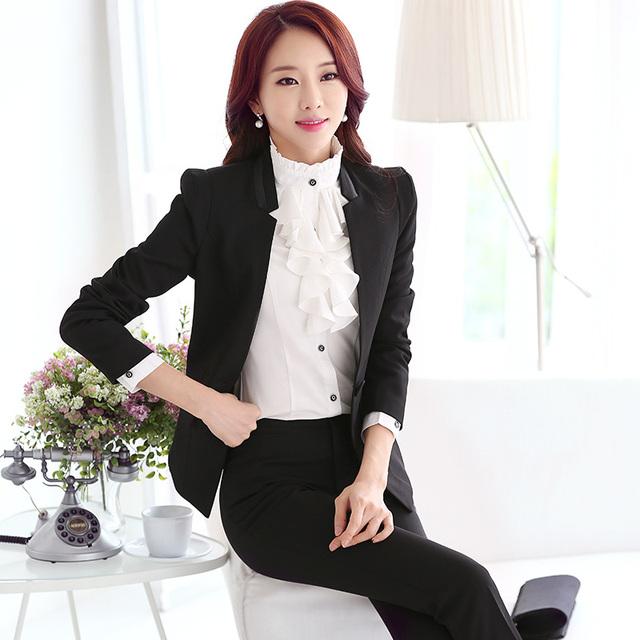 2016 primavera verão & moda outono desgaste do trabalho das mulheres formais ternos de vestido para o office ladies negócios define carreira branco