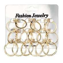 Новинка, для возраста от 9 пар/компл. золотых и серебряных уха кольцо для женщин стимпанк круглые серьги
